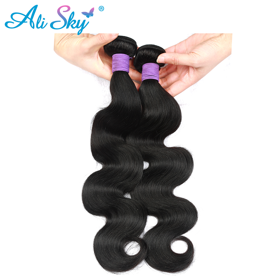 Ali Sky Peruvian Body Wave Hair 100% tebal Human Hair bundles 8-30inch weaves 1/3/4 bundles No Tangle Non Remy hair extensions