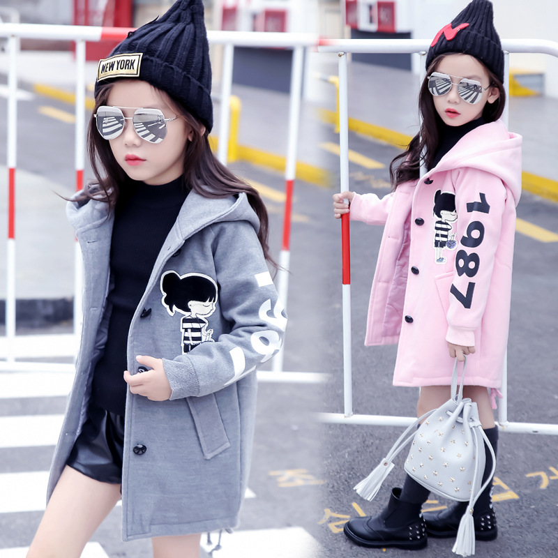 Image 2 - Girls Clothes Autumn and Winter 2019 New Children Fashion Cartoon Thick Warm and Medium Long Woolen Coat Jackets 4 12 YearJackets & Coats   -