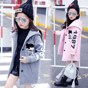 Image 2 - Girls Clothes Autumn and Winter 2019 New Children Fashion Cartoon Thick Warm and Medium Long Woolen Coat Jackets 4 12 Year