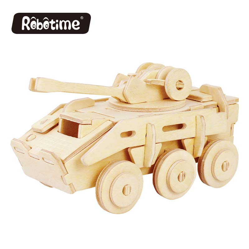 Robotime 3D Wooden Puzzle Magic War Military Tank Assembled Model DIY Painted Color Own Educational Toy