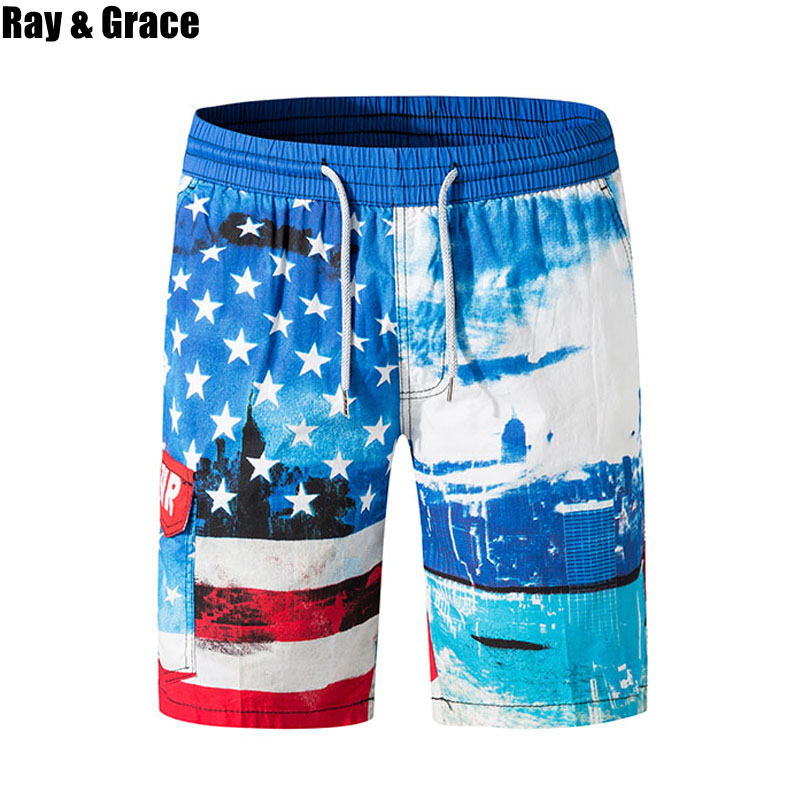 RAY GRACE Summer Quick Dry Mens Print Beach   Board     Shorts   Sports Surfing Beachwear Bermudas Fashion Elastic Waist Running   Shorts