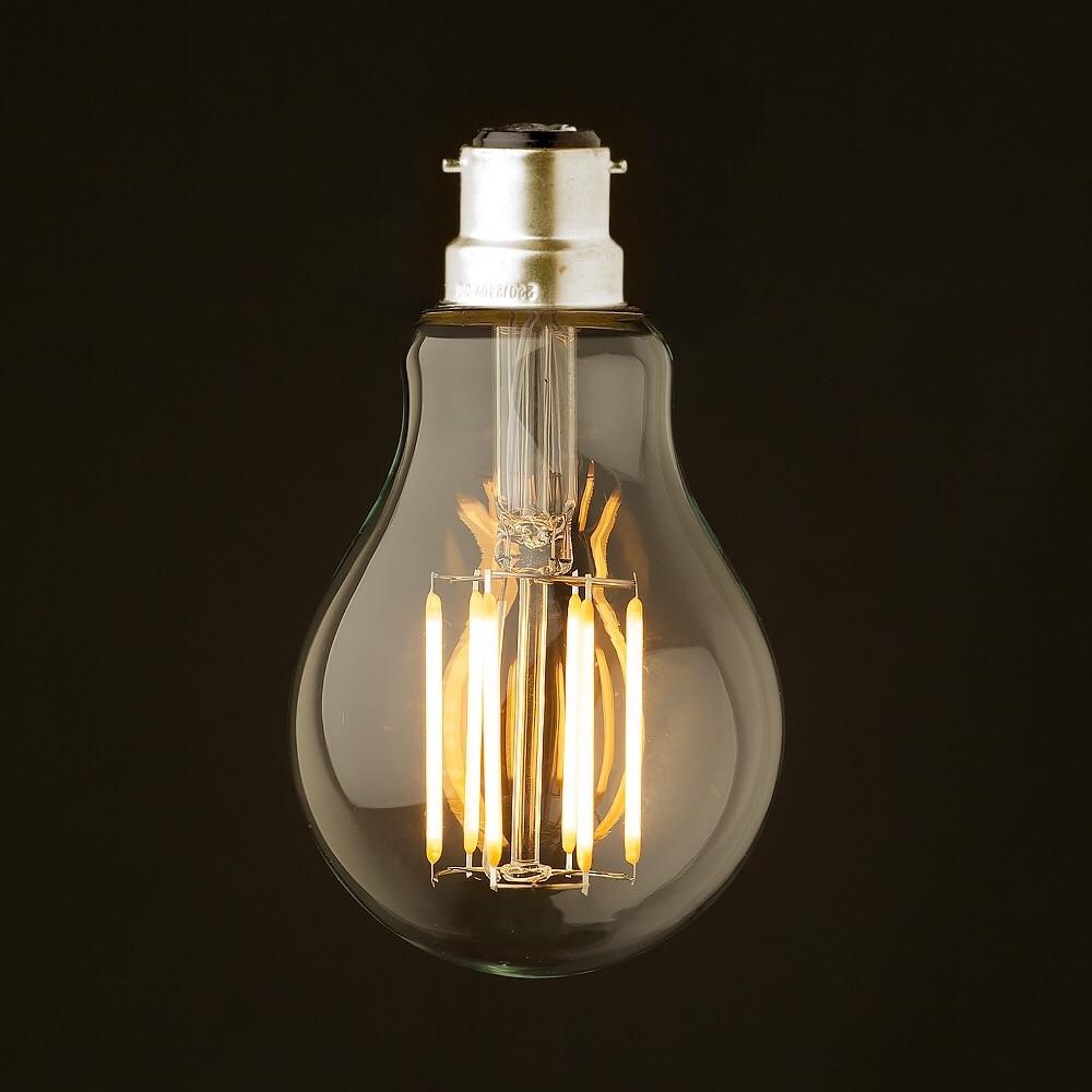8W ,B22 Bayonet Base,Retro LED Filament Bulb,220-240VAC,Warm White Edison A19 Globe Style,Decorative Lighting,Dimmable 5pcs e27 led bulb 2w 4w 6w vintage cold white warm white edison lamp g45 led filament decorative bulb ac 220v 240v