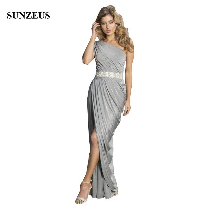 Long Grey Bridesmaid Dress One Shoulder Beaded Waistline Pleated Jersey Gray Party Dresses SAU926