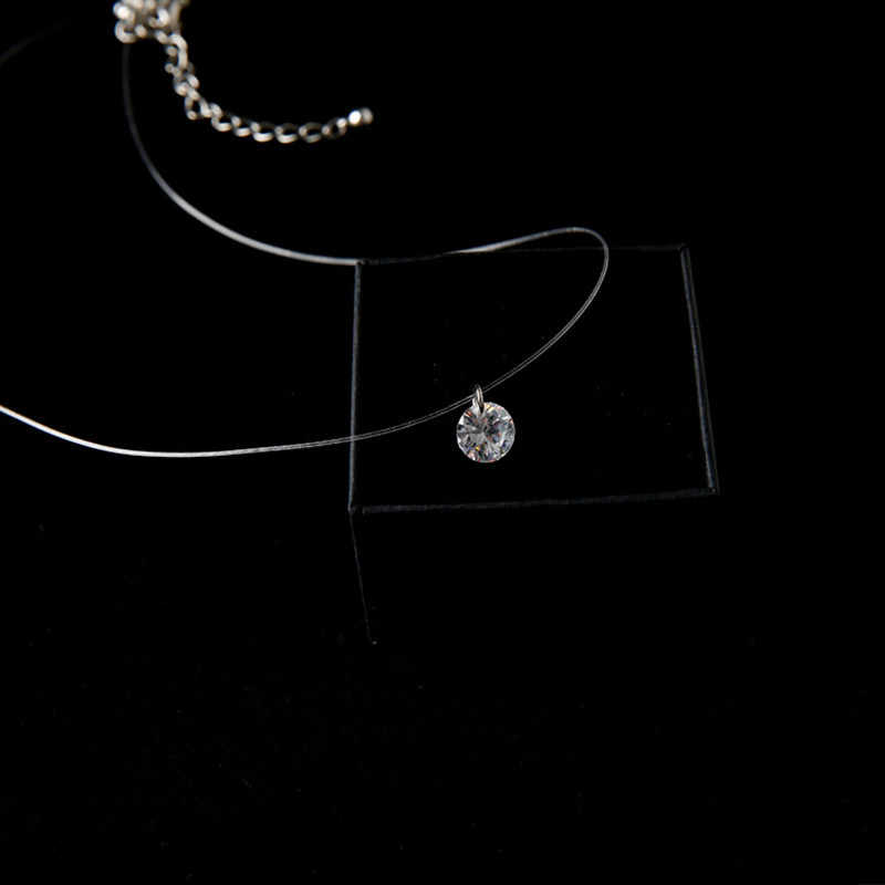 2017 Shine Zircon Vòng Cổ Vô Hình Trong Suốt Dây Câu Chuỗi Ngắn Mặt Dây Chuyền Vòng Cổ Phụ Nữ Jewelry Quà Tặng CND162