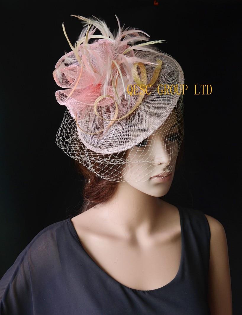 Lt розовый бежевый Sinamay чародей шляпа с перьями и клетка Veiling для свадьбы, Кентукки Дерби, Ascot рас, кубок Мельбурна