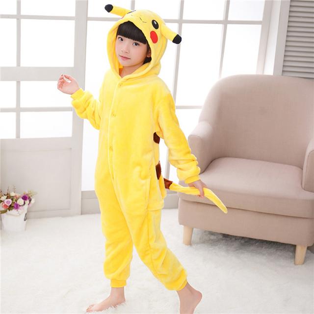Kids Pajamas For Boys Girls 5 6 7 8 10 12 Years Sleepwear Onesies Flannel Animal Stitch Unicorn Cosplay Hooded Children Pajamas