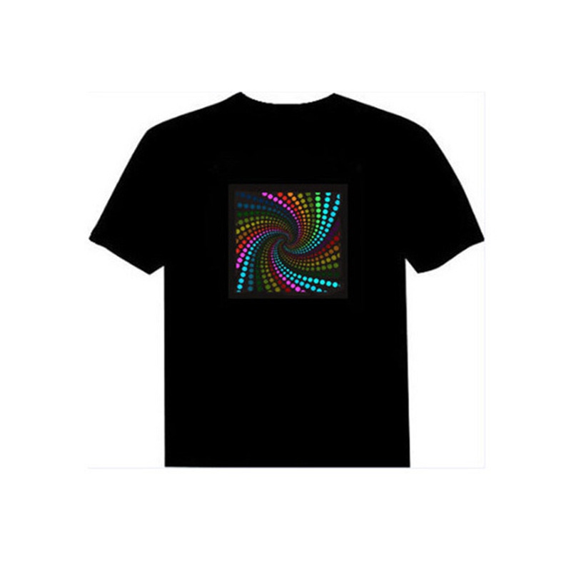 RUELK Men Sound Activated LED T-shirt Light Up Down Flashing T-shirts for Rock Disco Party DJ Tops Tee T Shirt Men Equalize