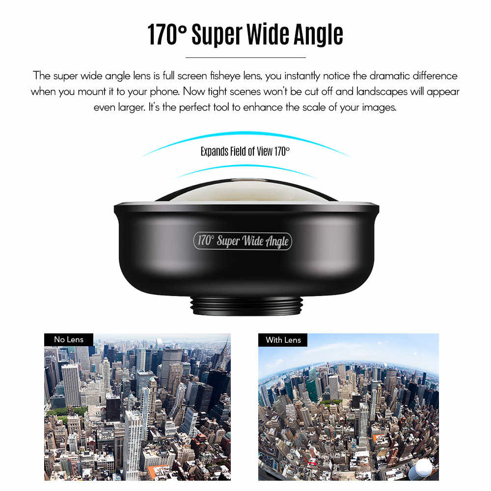 Apexel 170°super Wide Angle Lens For Dual Lens / Single Lens Smartphone For Iphone Pixel  For Samsung For Huawei Smartphones