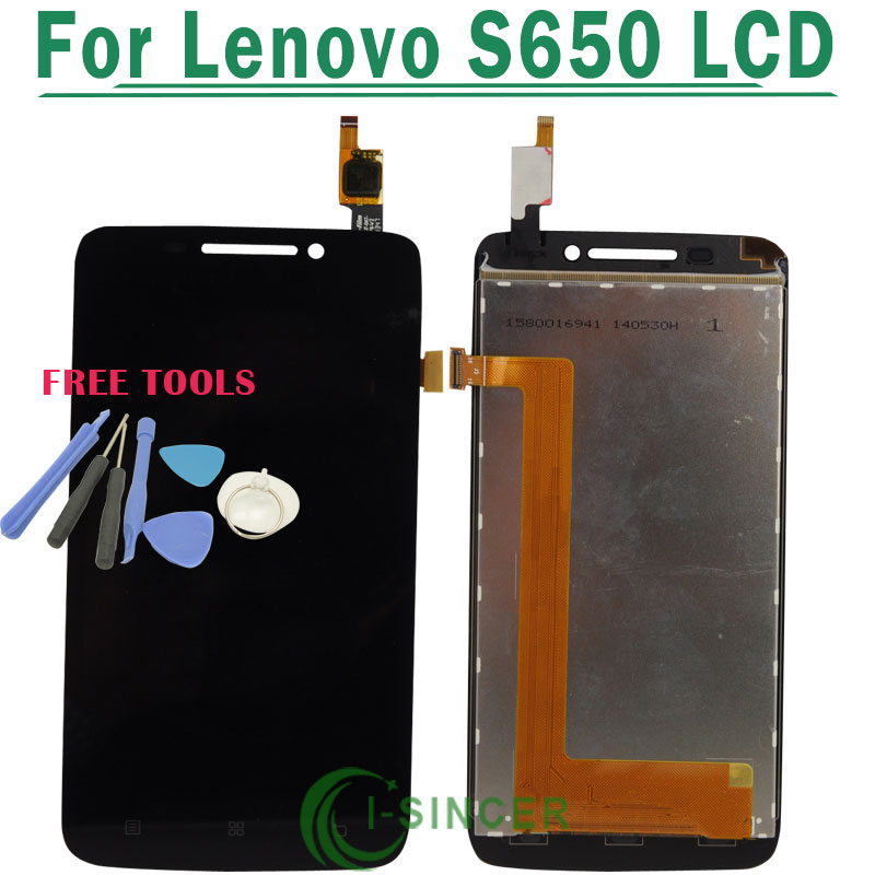 1/PCS For Lenovo S650 LCD Display With Touch Screen Digitizer Assembly Black +Tools Free Shipping 1 pcs for iphone 4s lcd display touch screen digitizer glass frame white black color free shipping free tools