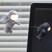 Lican Mini kreatywny Śliczne Astronauta Gravity Spaceman Elastyczna Rurka Lampka Do Czytania Lampka nocna Dla PC Portable Power Klawiaturze Laptopa