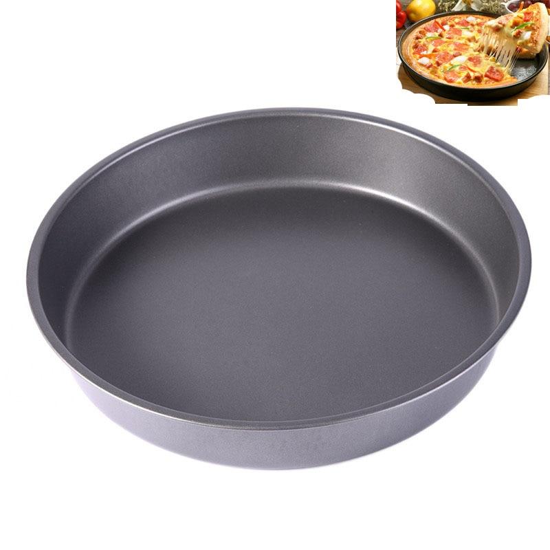 9 pulgadas antiadherente Pizza Pan piedras Piedras de acero al carbono Bandeja del plato Molde Microondas Horno Pastel Molde Herramientas para hornear