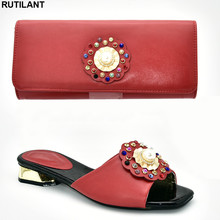 Итальянский комплект из туфель и сумочки, вечерние женские свадебные туфли и сумочка в нигерийском стиле, украшенные стразами, роскошные женские туфли