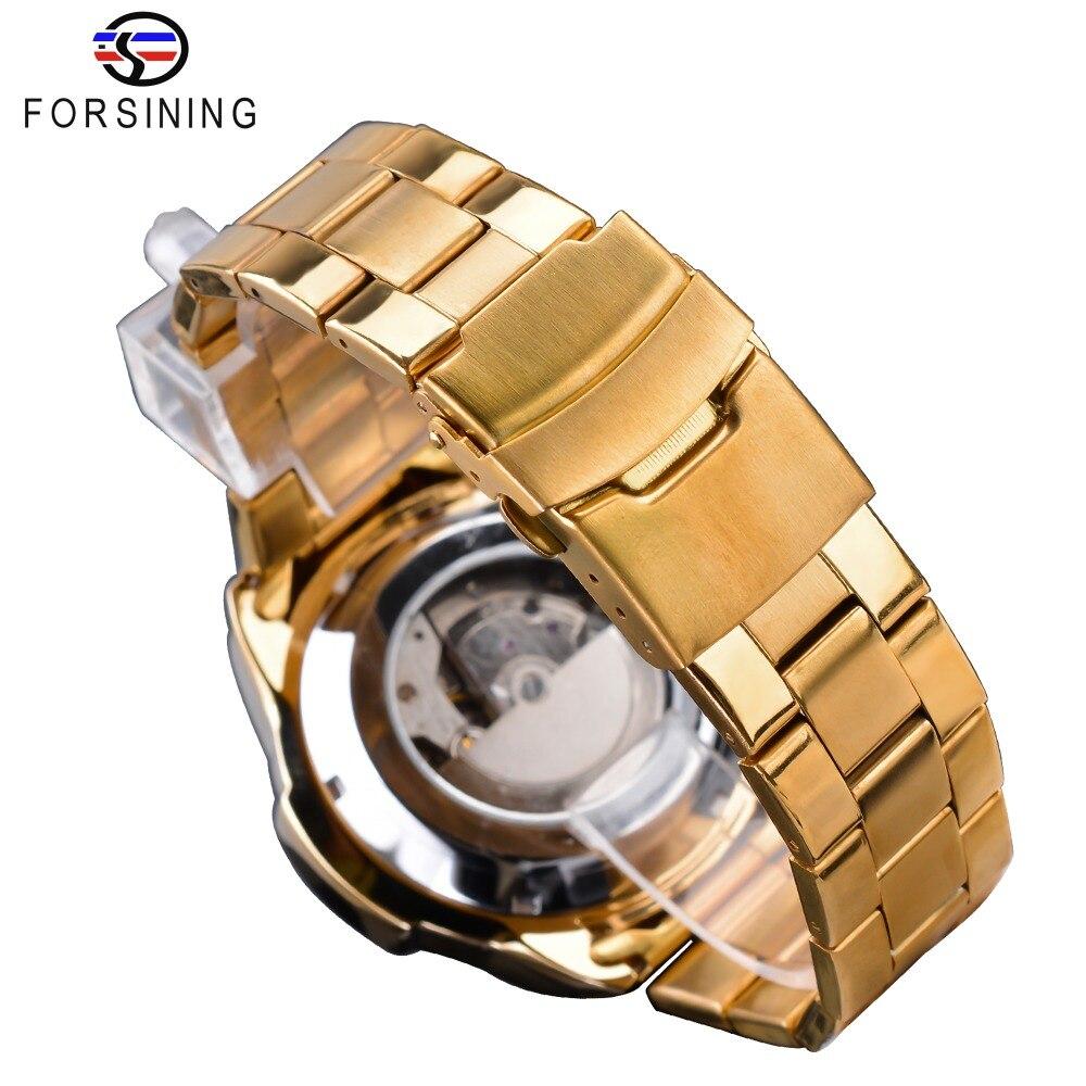 Forsining Steampunk Sport série classique noir doré horloge mâle complet calendrier hommes montres automatiques Top marque de luxe - 5