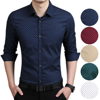 Men Slim Fit Long Sleeve Polka Dot Shirt