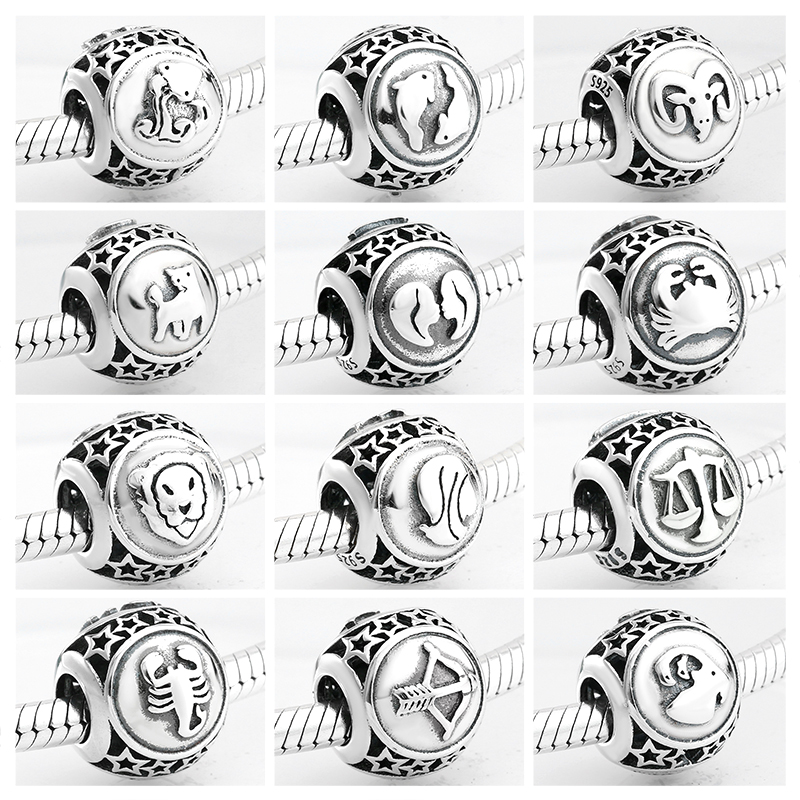 925 Sterling Silver Fashion 12 Constellation Beads Charms Jewelry Making Fit Original Pandora Charm Bracelet