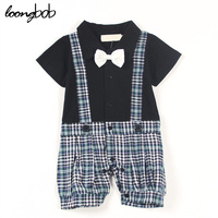 2015 New Baby Boy Romper Infants Bow Strap Collar Gentleman Toddle Sleepsuit Plaid Short Sleeve Kid