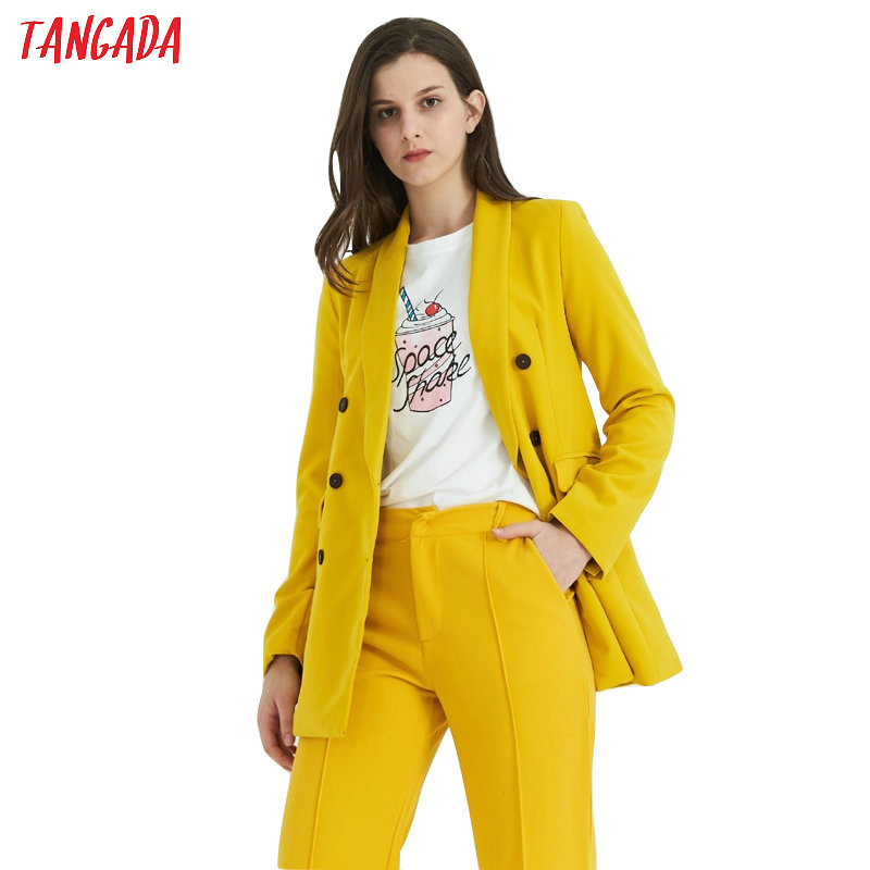 Tangada Women Yellow Suit Jacket Formal Blazer Double Breasted Pockets Outwear Work Office Business Suit Outwear SL115