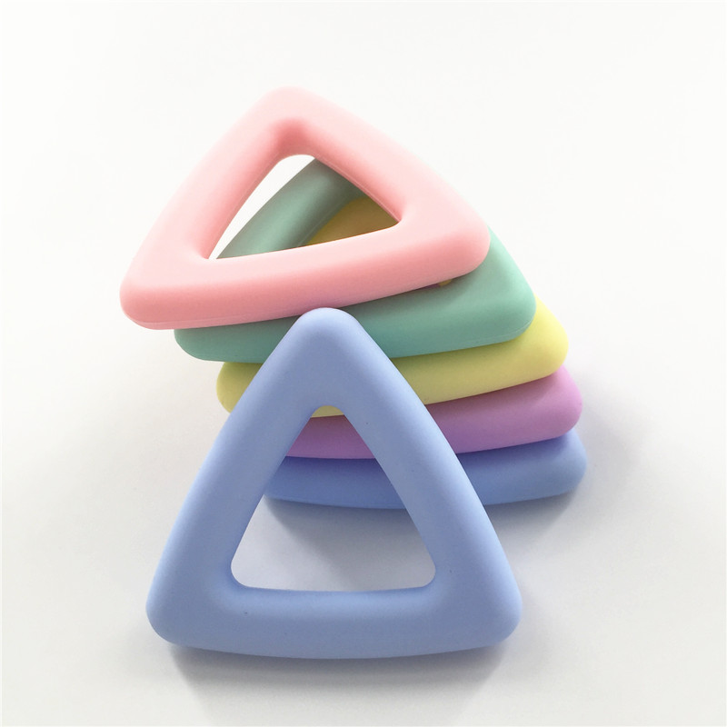 Chenkai 10PCS BPA Free Silicone Triangle Baby Pacifier Teether Beads DIY Chewable Pendant Nursing Dummy Sensory Toy Accessories