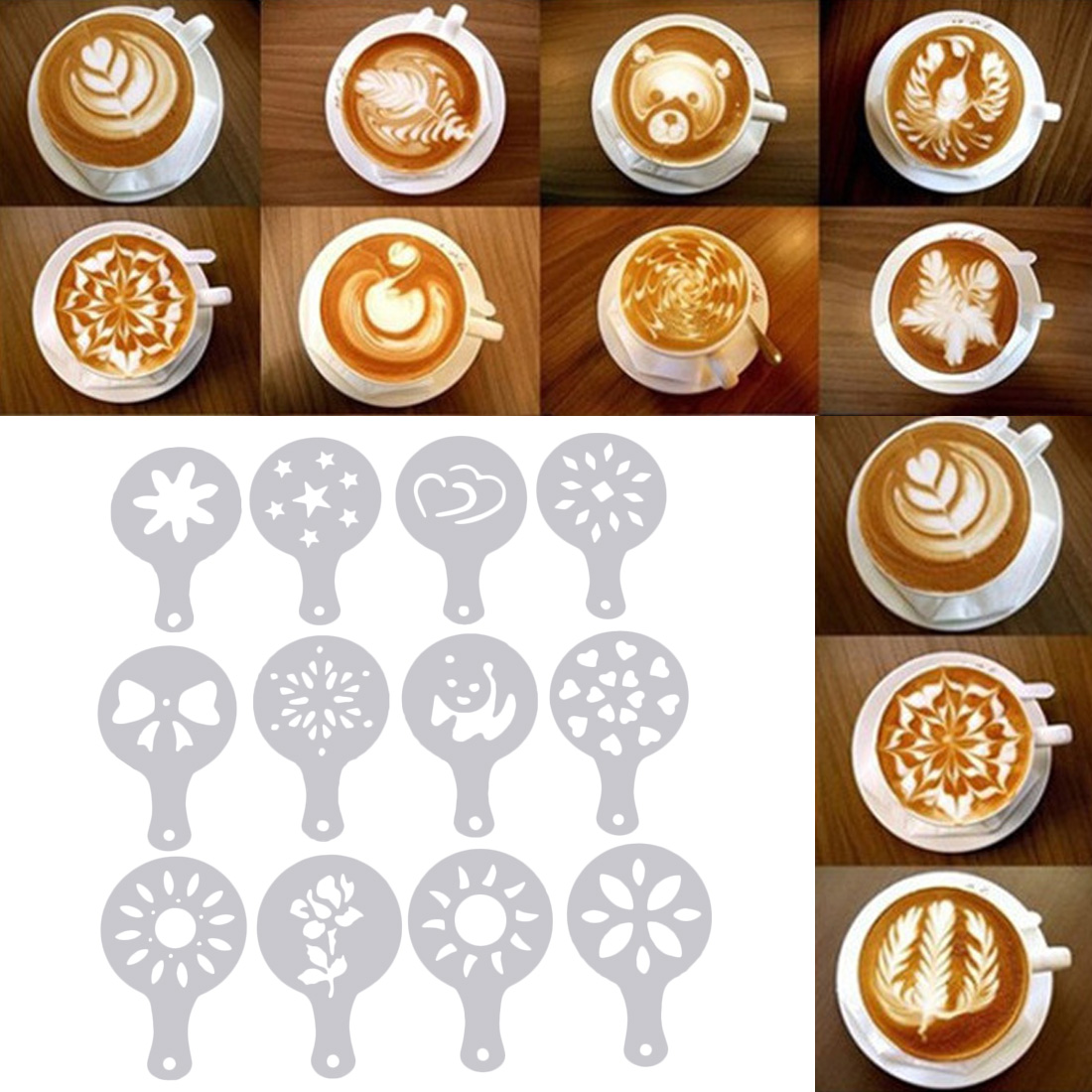 12pcs/set  Art Coffee Stencils Latte Cappuccino Barista Cupid Pattern  Cake Duster Templates Coffee Tools Accessories