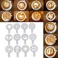 Mike Tee Cappuccino Barista Kaffee Schablonen Kunst Zeichnung Schaum Spray Kaffee Druck Form Kuchen Duster Vorlagen Schablonen set-in Kaffee-Schablonen aus Heim und Garten bei