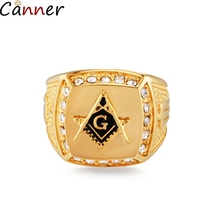 Canner Geometric Masonic Ring CZ Squares Rings Men Engagement Wedding Band Simple Stainless Steel anillos mujer Gift 4