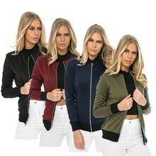New Casual Long Sleeve Winter Jackets Sheath Ladies Parkas Cool Basic Bomber Jacket Women Army Green Down Jackets Coats