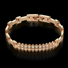 New High Quality Cubic Zirconia Gold Color Chram Bracelet For Women Wholesale Braslet 2018 Womens Jewellery(China)