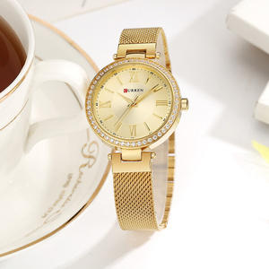 Image 5 - CURREN Rose Gold Watch Women Watches Ladies Stainless Steel Womens Bracelet Watches Female Relogio Feminino Montre Femme 9011