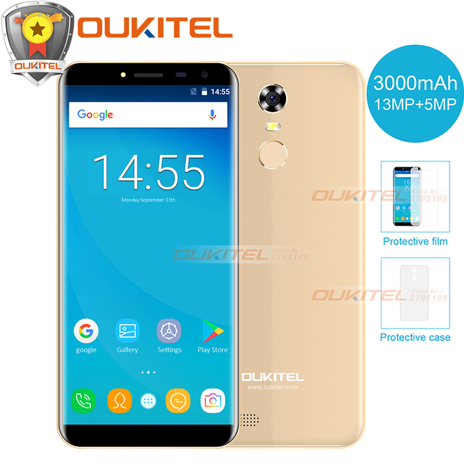 Oukitel C8 5.5 Inch 18:9 Aspect ratio Smartphone 2GB+16GB 13MP Android 7.0 MTK6580A Quad Core Touch phone 3000mAh Mobile Phone