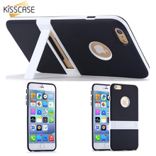 KISSCASE Candy Color Kickstand Soft TPU Case For Apple iphone 6 6S 6S Plus Ultrathin Back Cover hole Logo Body Phone Stand Case