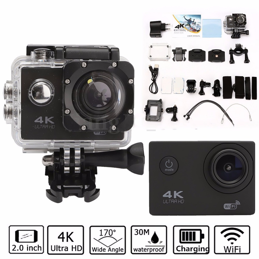 Waterproof 2.0'' LCD H9 4K Ultra HD Video Camera FHD 1080P 170 Degree WiFi Sports DV Action Camcorder Sport Outdoor Travelers