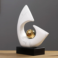 Modern Creative Arc Plating Gold Ball Ceramic Statue Home Crafts Room Decor Objects Office Marble Texture Porcelain Sculpture