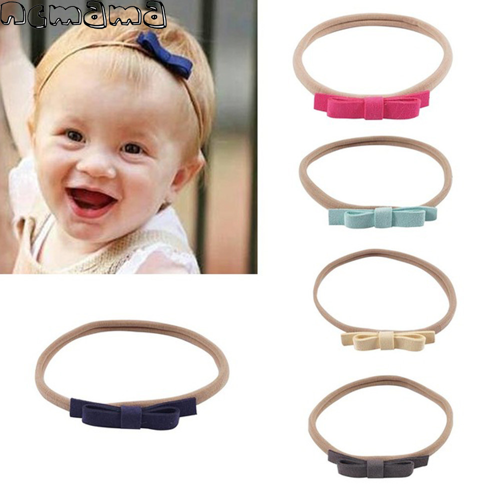 1 Set(5Pcs) Girls Solid Headband Suede Bowknot with Elastic Nylon Band Handmade Kids Hairbands Boutique Hair Accessories for Kid 6 pcs lot infant toddlers ribbon nylon headband boutique elastic band for pretty children baby hair accessories