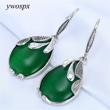 Vintage Green Big Stone Water Drops Dangle Earrings For Women Jewelry Wedding Engagement Earring Brincos Gifts