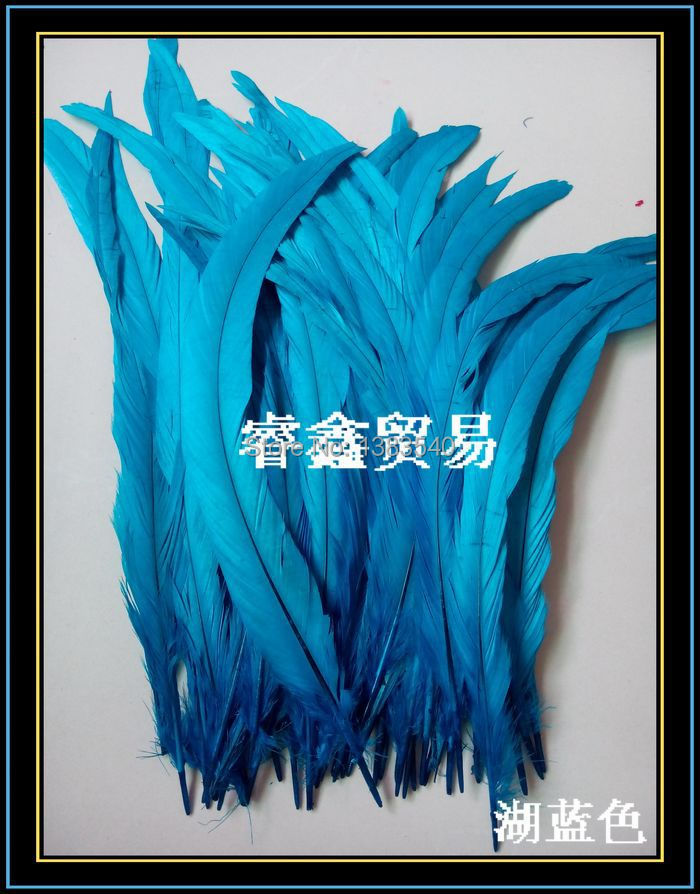 Wholesale! 100pcs natural rooster tail hair lake blue 30-35 cm / 12 - 14 inches