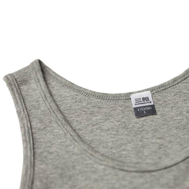 THREEGUN 100% Cotton O-Neck Undershirts Basic Men Bodybuilding Sleeveless Undershirt Fitness High Elastic Muscle Men Top 3 Color