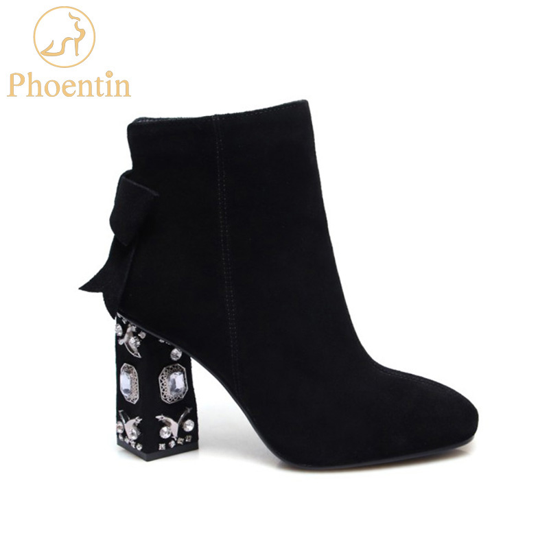 Phoentin black cow suede women boots with zipper crystal strange heels ladies ankle boots square toe