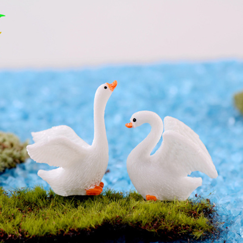 2Pcs/Lot Mini Cute Goose Swan Mannequin Animal Figurine Ornaments Fairy Backyard Ornament Miniature Figurine DIY Dwelling Equipment Collectible figurines & Miniatures, Low-cost Collectible figurines & Miniatures, 2Pcs/Lot Mini Cute...