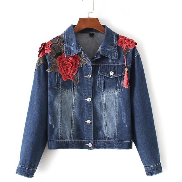 2138dce7e85a8 Femmes automne européenne élégant 3d rouge floral broderie glands bleu denim  veste dames match tous les