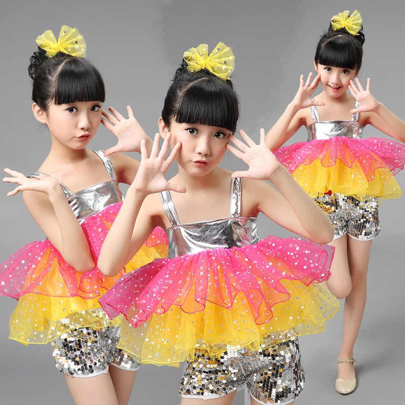 3fd38a4b9173 Детские современные танцевальные костюмы с блестками, комплект одежды для  джазовых танцев для детей, танцевальная