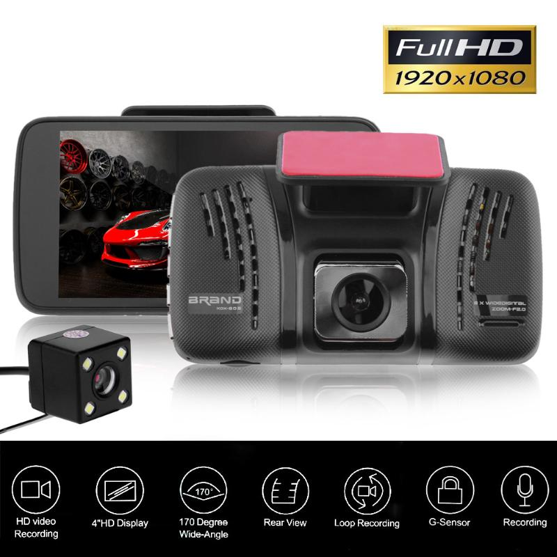 4 inch Car DVR Camera Dual Lens 170 Wide Angle Full Hd 1080P Video Recorder Registrator Night Vision Car Camcorder DVRs Dash Cam ambarella a7 hd 18mp 1080p 60fps cmos 170 wide angle night vision car dvr camcorder black