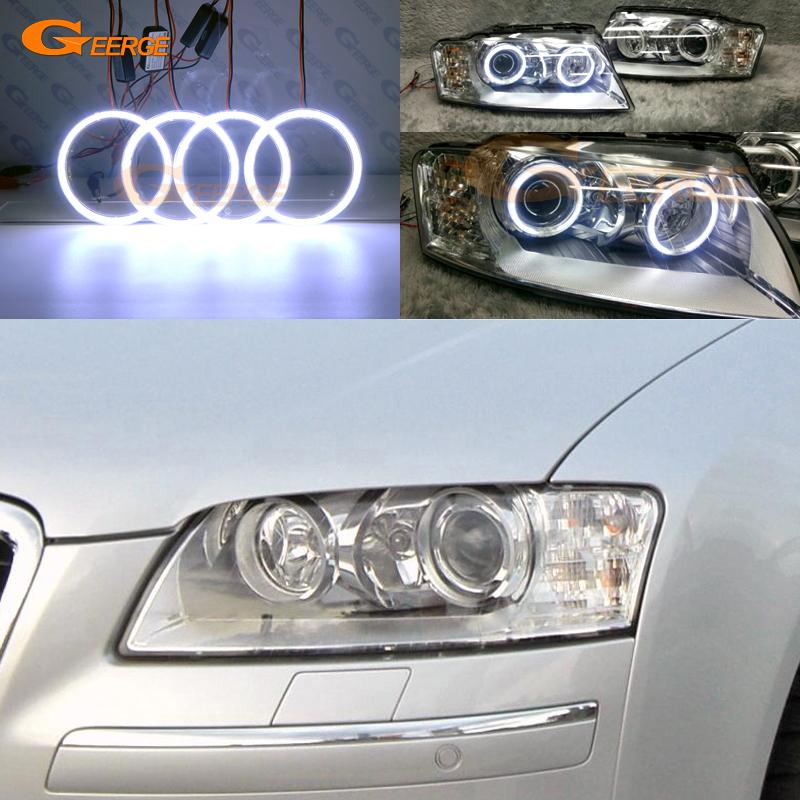 For Audi A8 S8 2004 2005 2006 2007 2008 2009 Excellent angel eyes Ultra bright illumination COB led angel eyes kit halo rings super bright led angel eyes for bmw x5 2000 to 2006 color shift headlight halo angel demon eyes rings kit