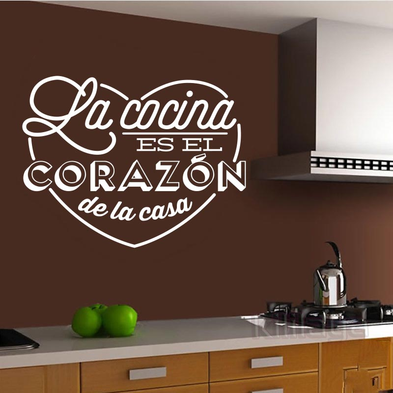 Wall Stickers Spanish Cocina Heart Vinyl Wall Mural Decal Kitchen Wall  Decals Home Decor House Decoration
