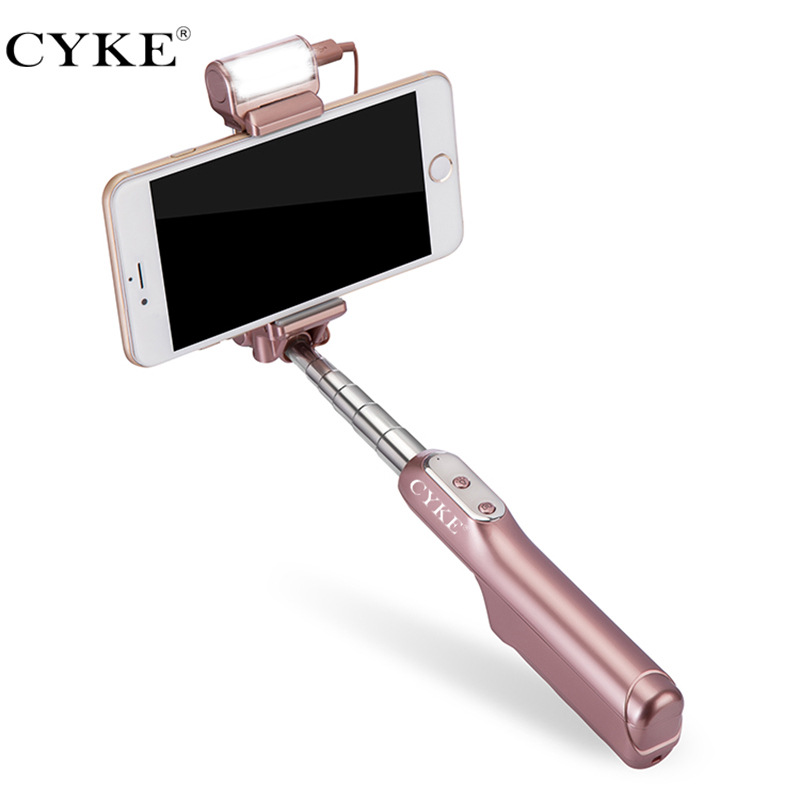 CYKE Bluetooth LED 360 rotatable light filling Flash Fill Light Selfie Stick with Rear Mirror a