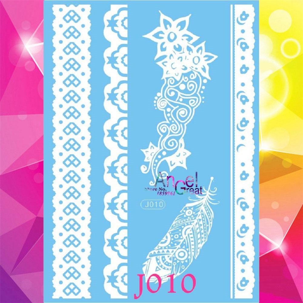 1 Pc Desain Aj10 Henna Temporary Tattoo Stiker Bulu Putih Wanita