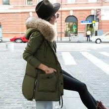 Хит, европейский стиль, пуховик, искусственный мех енота, воротник с капюшоном, зимняя куртка, Женское пальто, женский костюм, Casaco Feminino WUJ0725