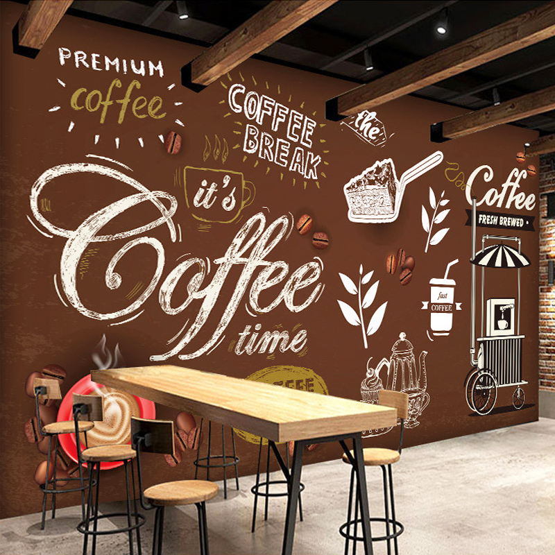 Customized size bread coffee time hand painted poster for Mural coffee