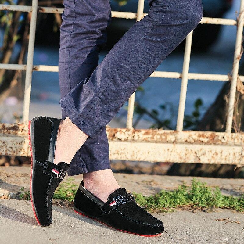 Hombres Casual rojo 2017 Negro Loafer Nubuck on 8338 A Slip Zapatos Azul Vintage Negro Mocasines Conducir azul Plana Estilo Cuero fRRrdAcH