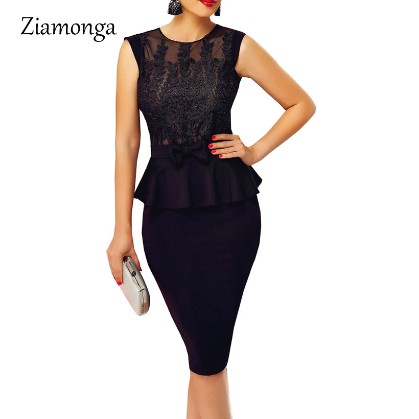 a244e100394 Ziamonga 2019 Vintage Embroidery Floral Lace Peplum Dress Women Business  Work Office Dress Elegant Sexy Party Bodcyon Dresses