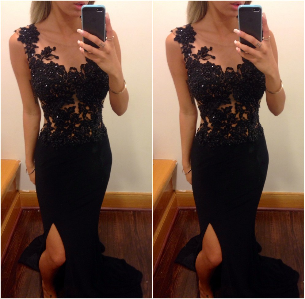 Hot&sexy High Side slit Special Occassion   Dresses   2019 Sleeveless Black lace   Prom     dress   Vestidos de Fiesta Fast Shipping